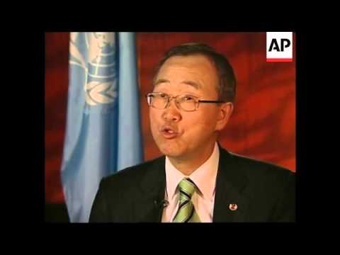 AP int with UN Sec Gen Ban Ki-moon, comments on Sudan, Somalia, Iraq, Iran