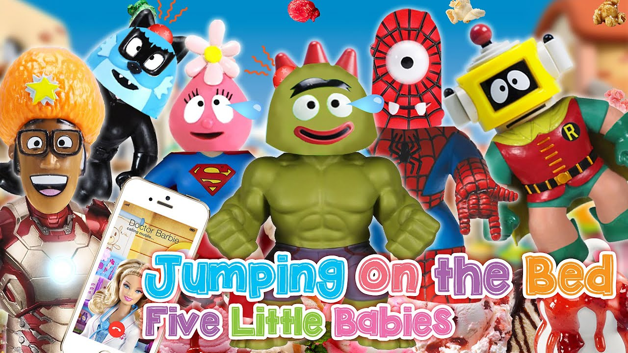 yo gabba gabba super heroes five little babies jumping on the bed
