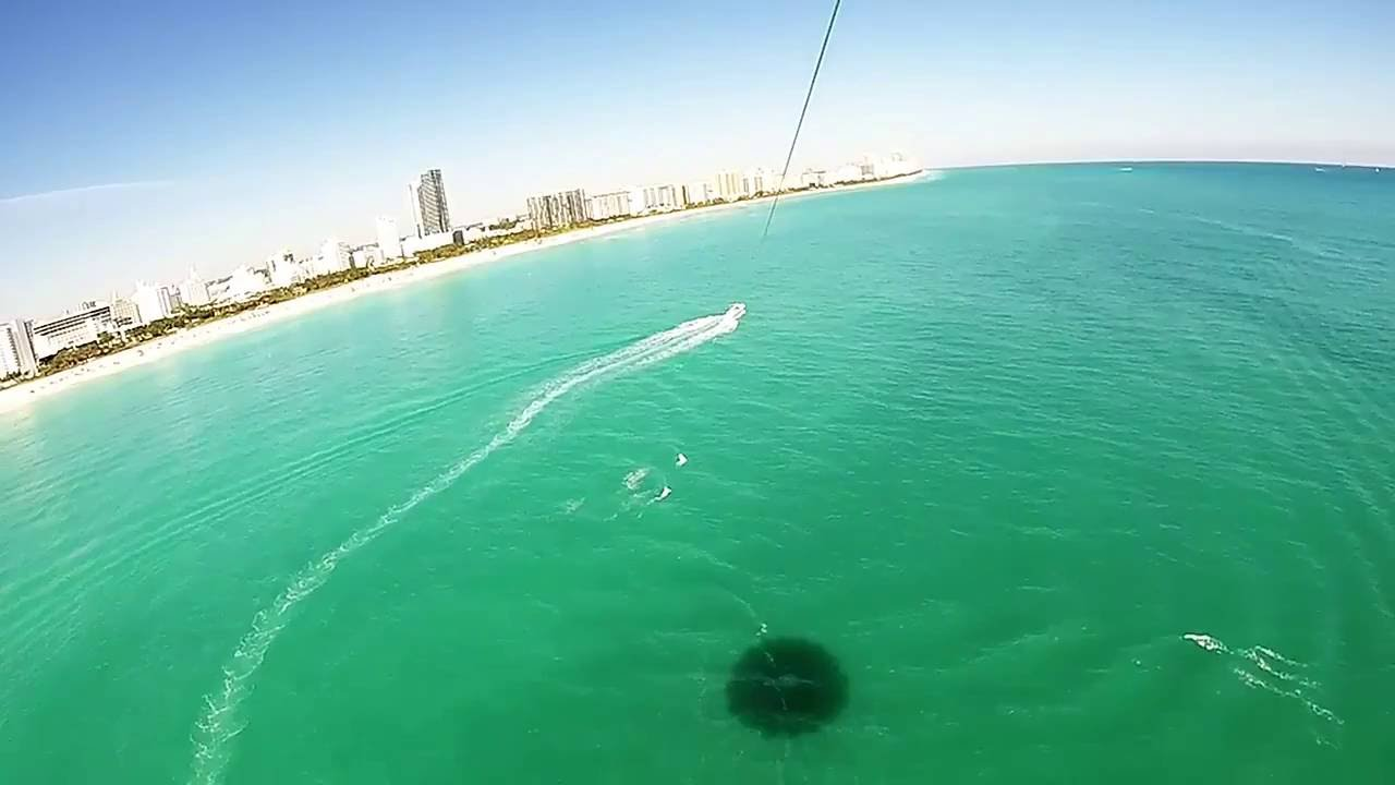 Free Stock Video Footage Parasailing Miami Water South Beach Plane
