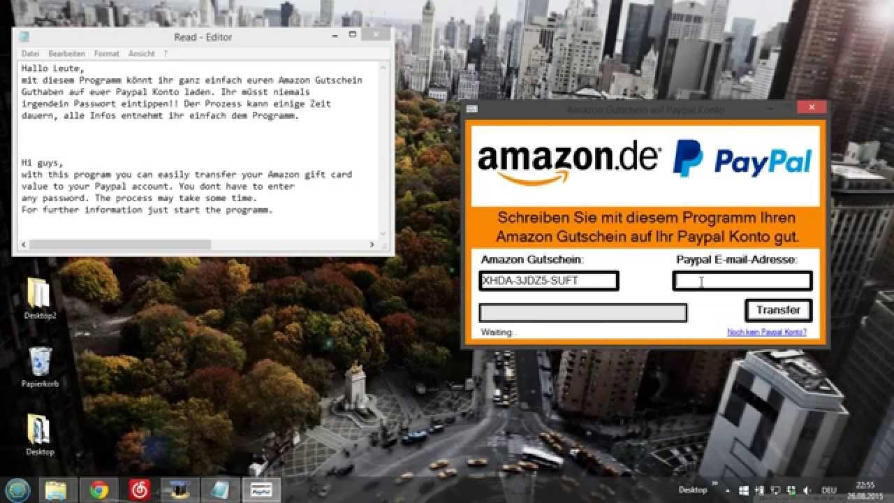 Amazon gutschein aufs konto einzahlen