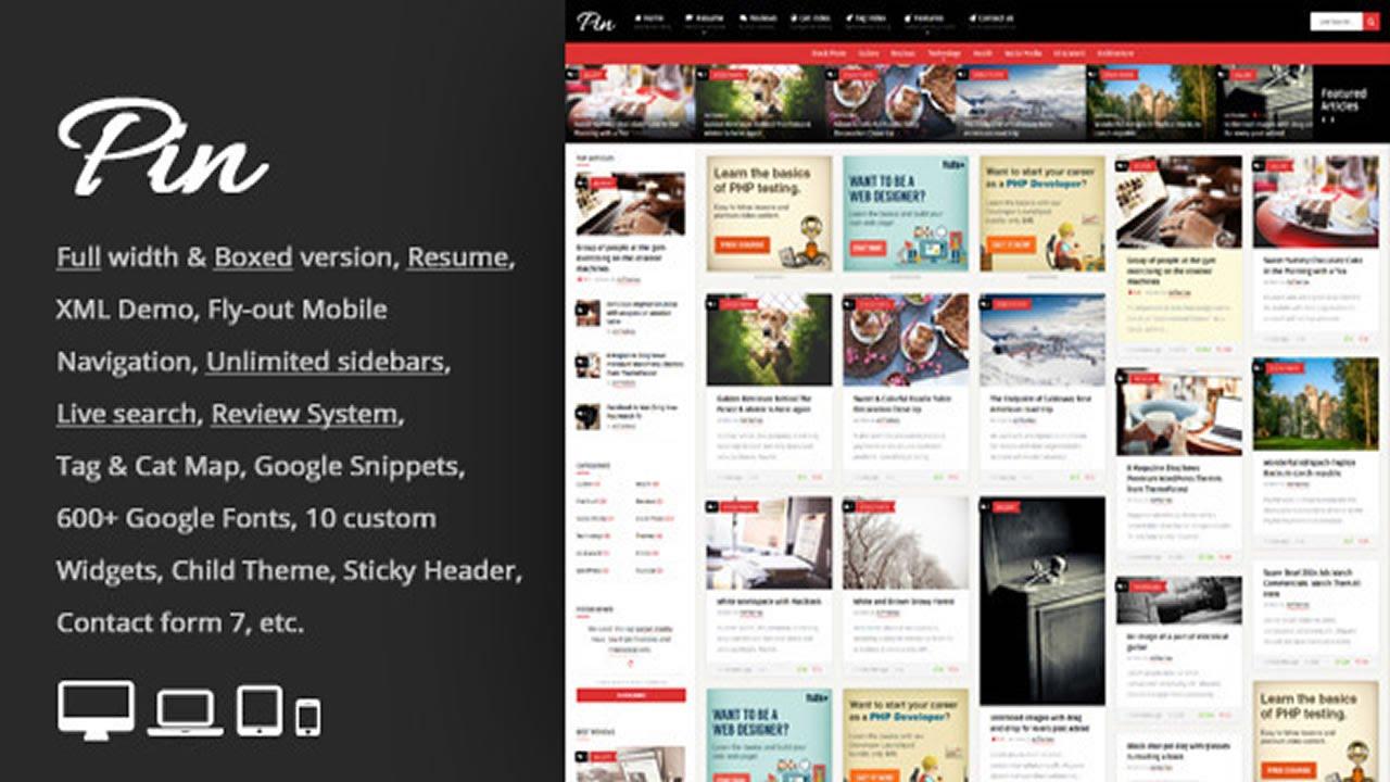Pin = Grid Personal Magazine / CV Resume WP Theme v1.2 - YouTube