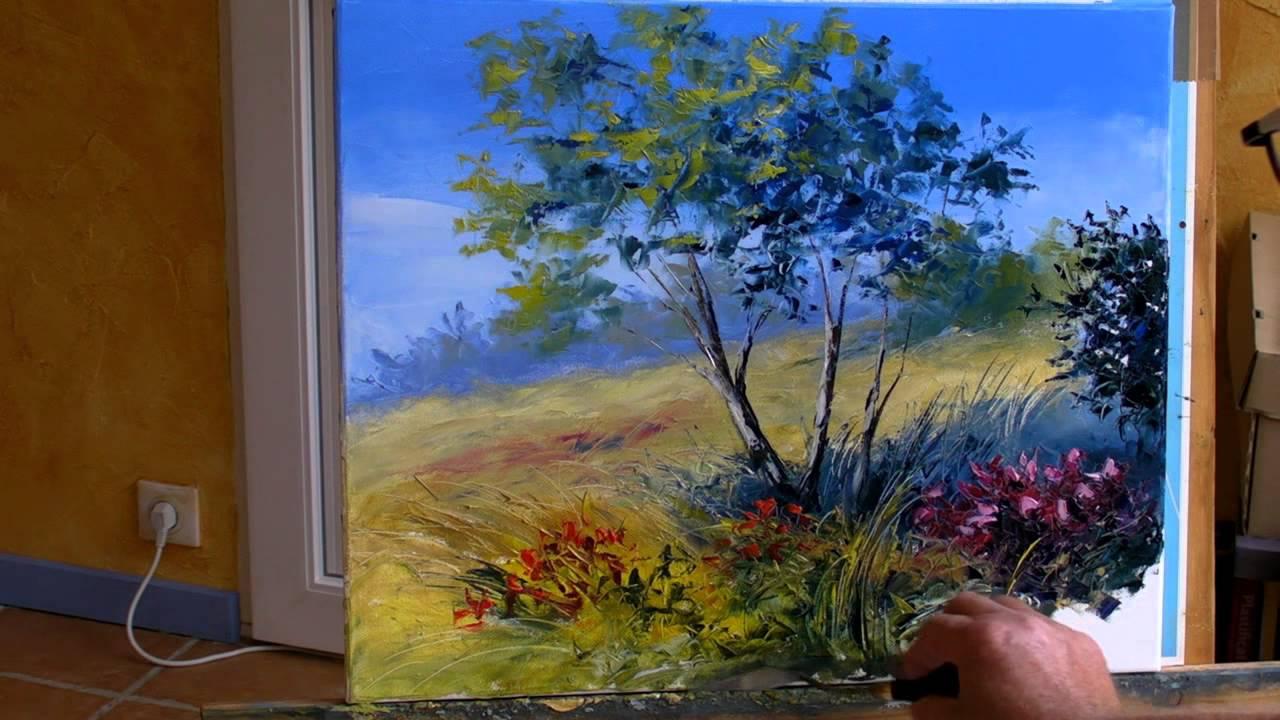 Assez Sous les arbres 3/3. Pascal CLUS Peinture au couteau Painting  MD17