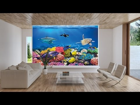 Undersea coral reef photo wall paper aquarium fish sea for Aquarium decoration paint