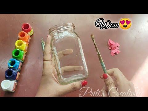 DIY Mason jar Easy Mason Jar Craft || Glass Jar Decorating Idea || Jar Painting || By - Priti Saha