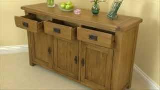 Rustic Solid Oak Large Sideboard
