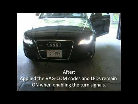 2009 Audi A4 B8 using VAG-COM codes (dial sweep, remote windows, daytime LED)