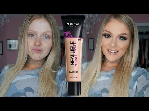NEW L'OREAL INFALLIBLE TOTAL COVER FOUNDATION FIRST IMPRESSIONS REVIEW + DEMO