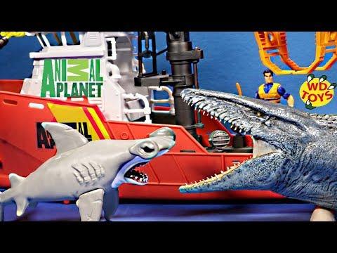 SHARK WEEK!! 4 Awesome Shark Toy Video's Animal Planet Deep Sea Shark Research Playset Vs Mosasaurus