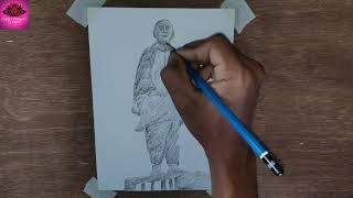 How to draw Statue of Unity | | Draw Sardar Vallabh Bhai Patel with pencil shading