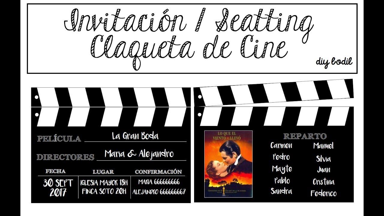 Invitación Seatting Con Claquetas De Cine