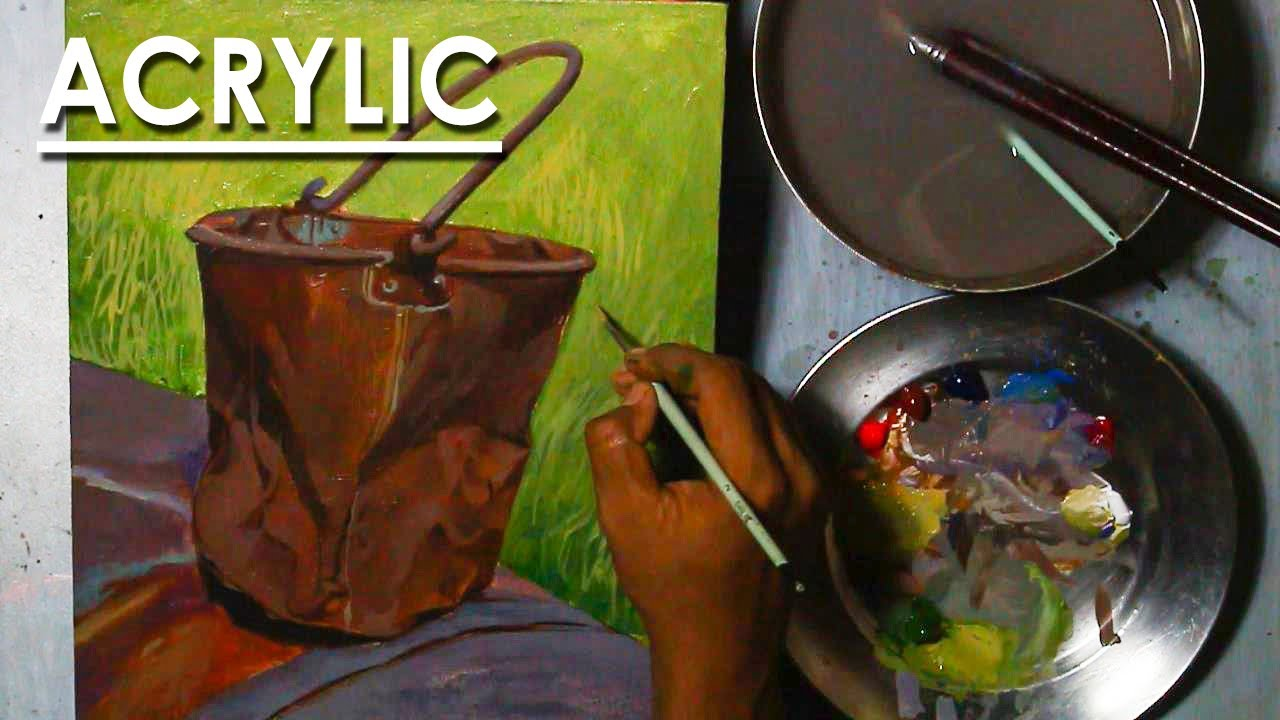 Acrylic Still Life Painting : Rusty Bucket