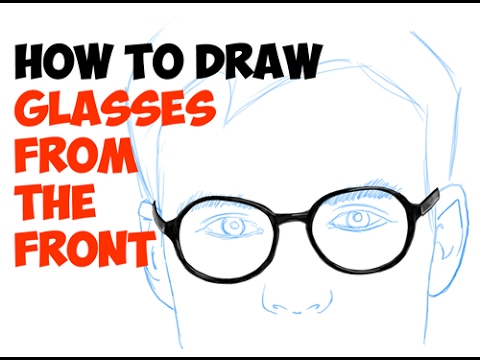 How to draw glasses on a face front view easy step by step drawing tutorial for beginners