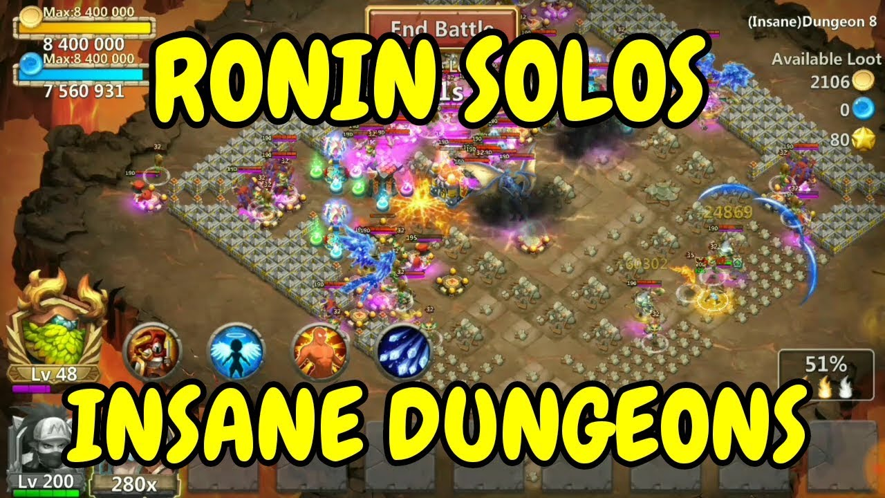 Ronin Solos Insane Dungeons L 8 1 To 8 5 L Castle Clash Youtube