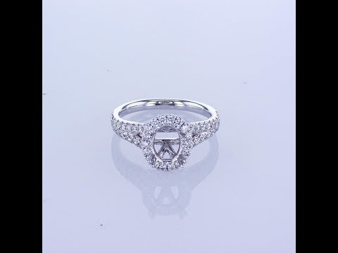 0.78CT 18KT WHITE GOLD OVAL HALO DIAMOND ENGAGEMENT RING SETTING