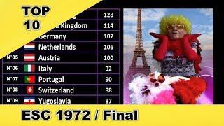 Eurovision ESC 1972 Final - Real Top 10 After The Show (MadamESC)