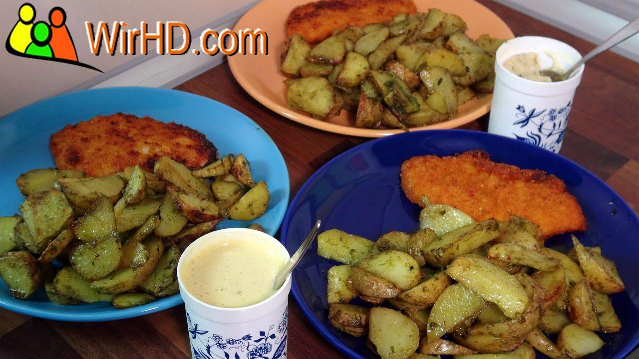 b rlauch country potatoes mit schnitzel und mayonnaise dip. Black Bedroom Furniture Sets. Home Design Ideas