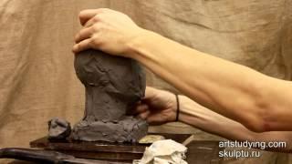 Пример лепки нашей обрубовочной головы - Обучение скульптуре. Портрет, 6 серия
