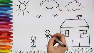 Niños y Casa | Cómo dibujar y colorear los para niños