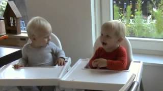 Twin babies laughing and talking together :)