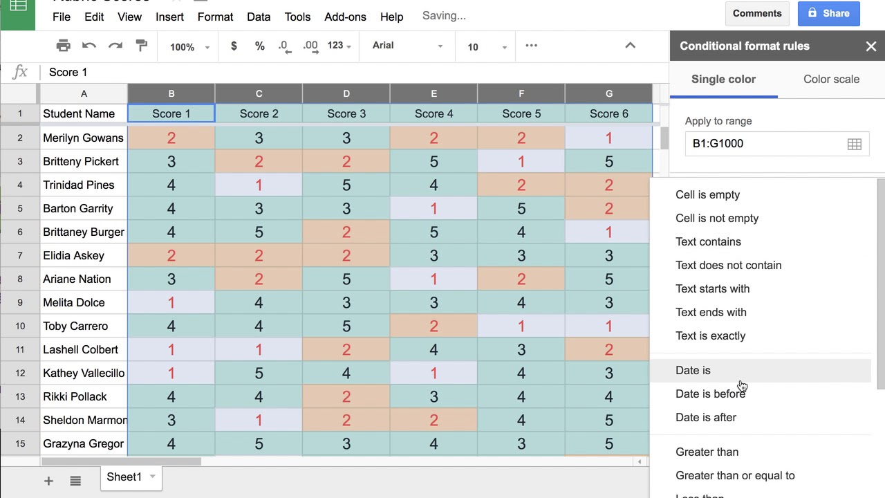 Conditional Formatting of Rubric Scores in Google Sheets - YouTube