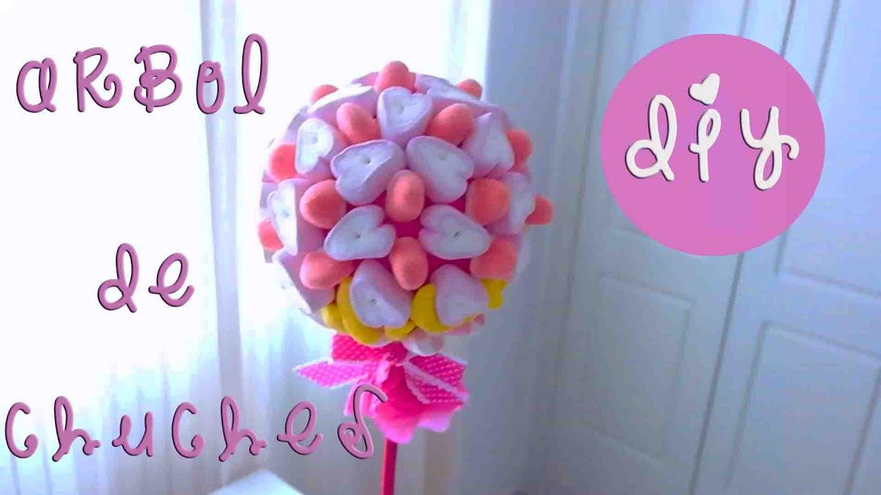 Arbolito de chuches para fiestas diy youtube - Ideas para decorar mesas de chuches ...