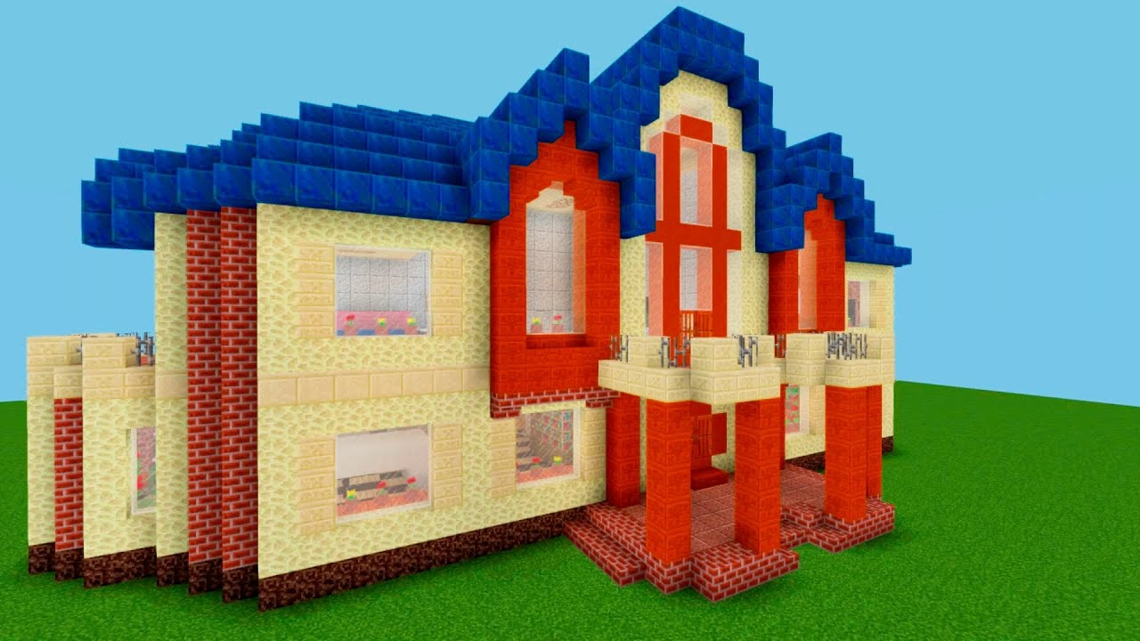 Lapis lazuli house - Minecraft How To Build A Medium Sized House End Stone Design Ideas 40x25 Blocks House Project 11 Youtube
