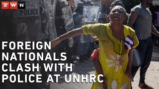 Scuffles broke out between refugees and police at the UN Refugee Agency in Pretoria on Friday.