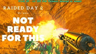 Online raid defence on day 2! We were not prepared! ARK SMALLTRIBES PVP #2