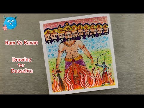 How To Draw Ravan Vs Ram Step By Step Dussehra Drawing Easy In Colored Pencil Youtube