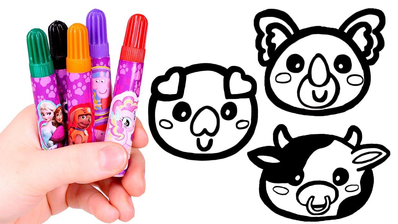 Dibuja y colorea tres ANIMALES 🐷🐨🐮 Videos para niños