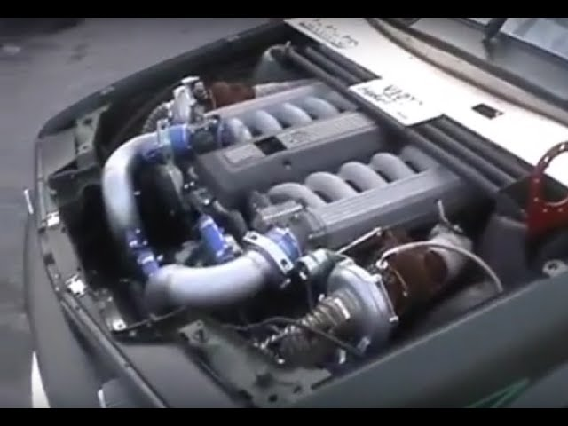 BMW E30 V12 TwinTurbo burnout!