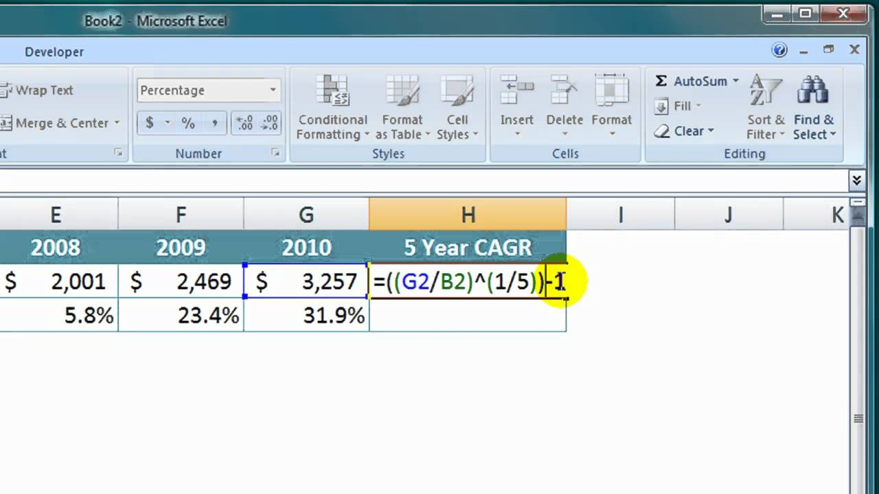how to calculate change in sd excel