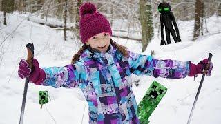 Активный отдых с детьми - Света катается на лыжах