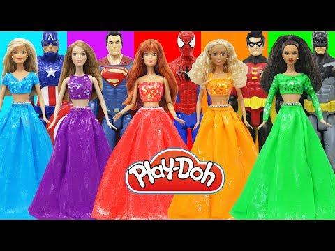 Play Doh Dress Up New Barbie Dolls Super Hero Spiderman Batman Superman Captain America Robin