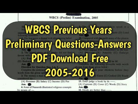 Preliminary pdf wbcs question paper