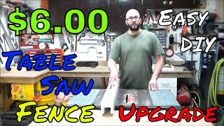 $6.00 Table Saw Fence Upgrade Made Using A White Melamine Shelf Quick Easy Shop Project