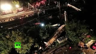 Aftermath of deadly train derailment in Taiwan (AERIAL FOOTAGE)