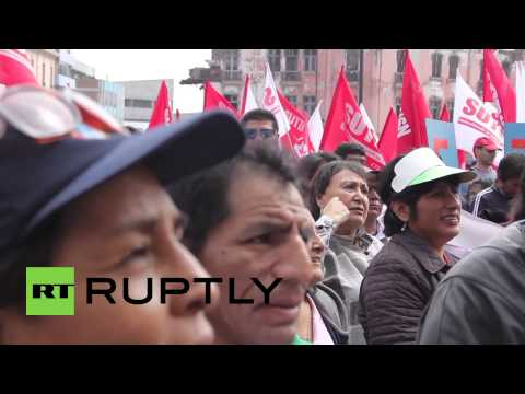 Peru: Fight breaks out at CGTP demo calling for improved labour rights in Lima