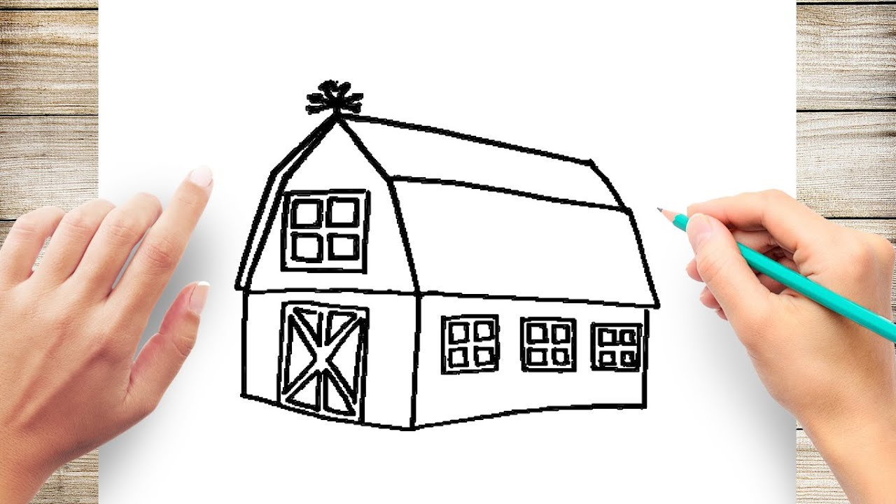 How To Draw A Barn Step By Step For Kids Youtube
