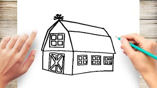 How to Draw a Barn Step by Step for Kids