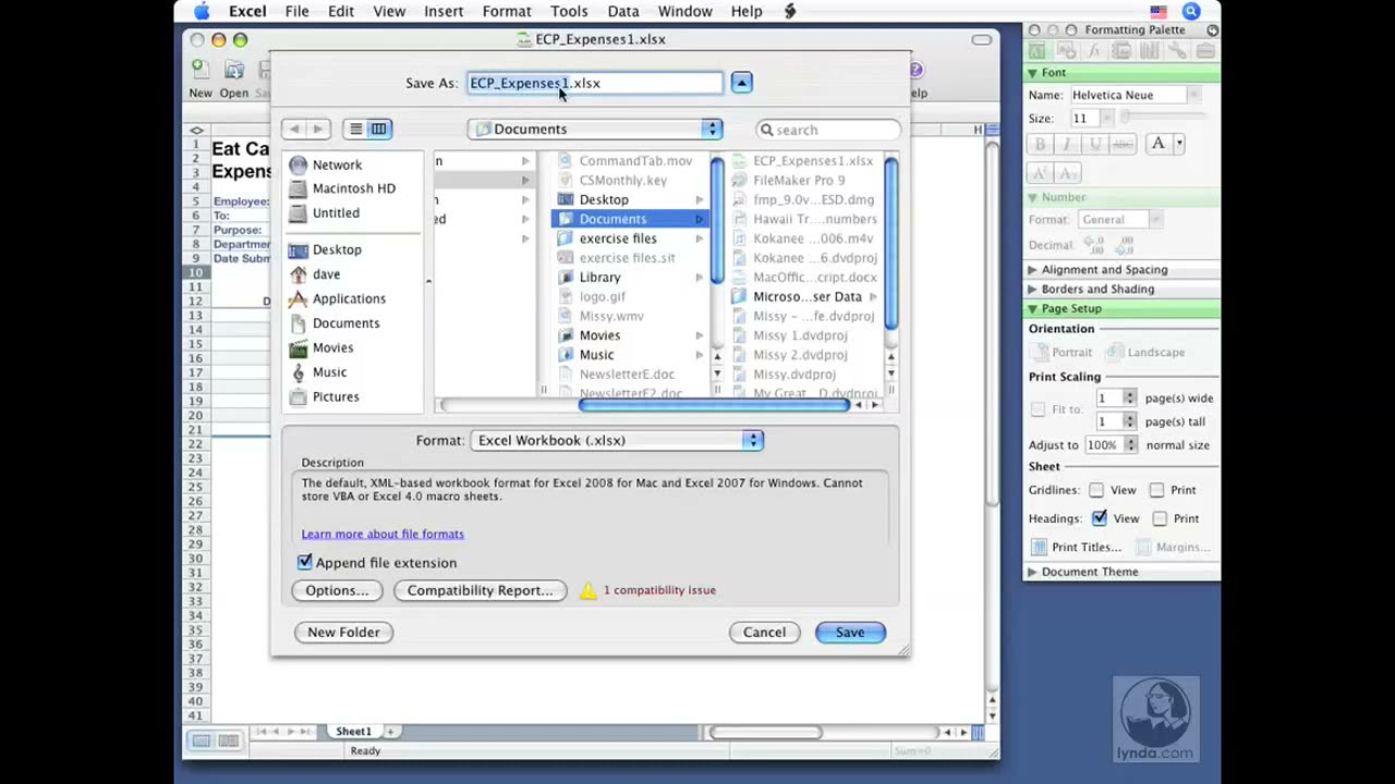 Excel for Mac: Saving workbooks | lynda com