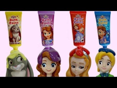 Nat and Essie Learn Colors using Princess Sofia The First Bath Paint