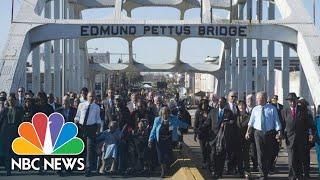 Live: John Lewis' Body Carried Over Historic Edmund Pettus Bridge | NBC News