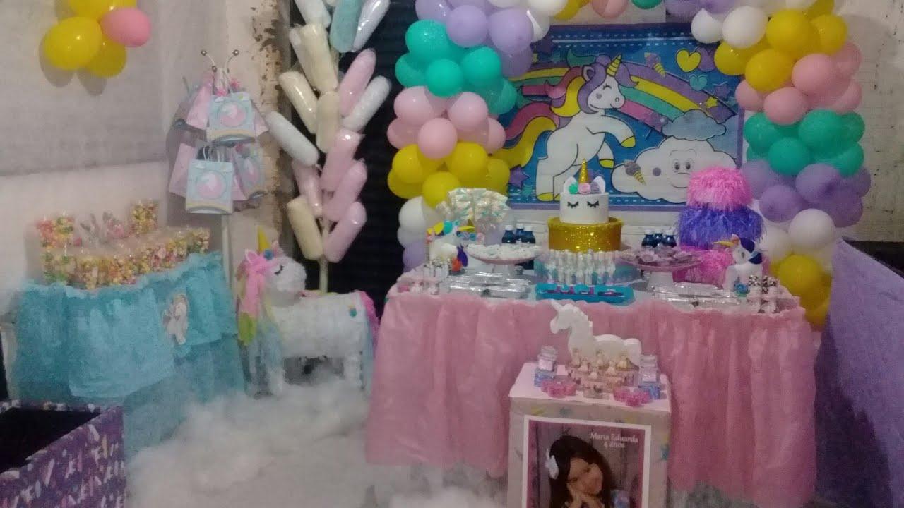 Decoração De Aniversário Simples Tema Unicornio Festa Em Casa