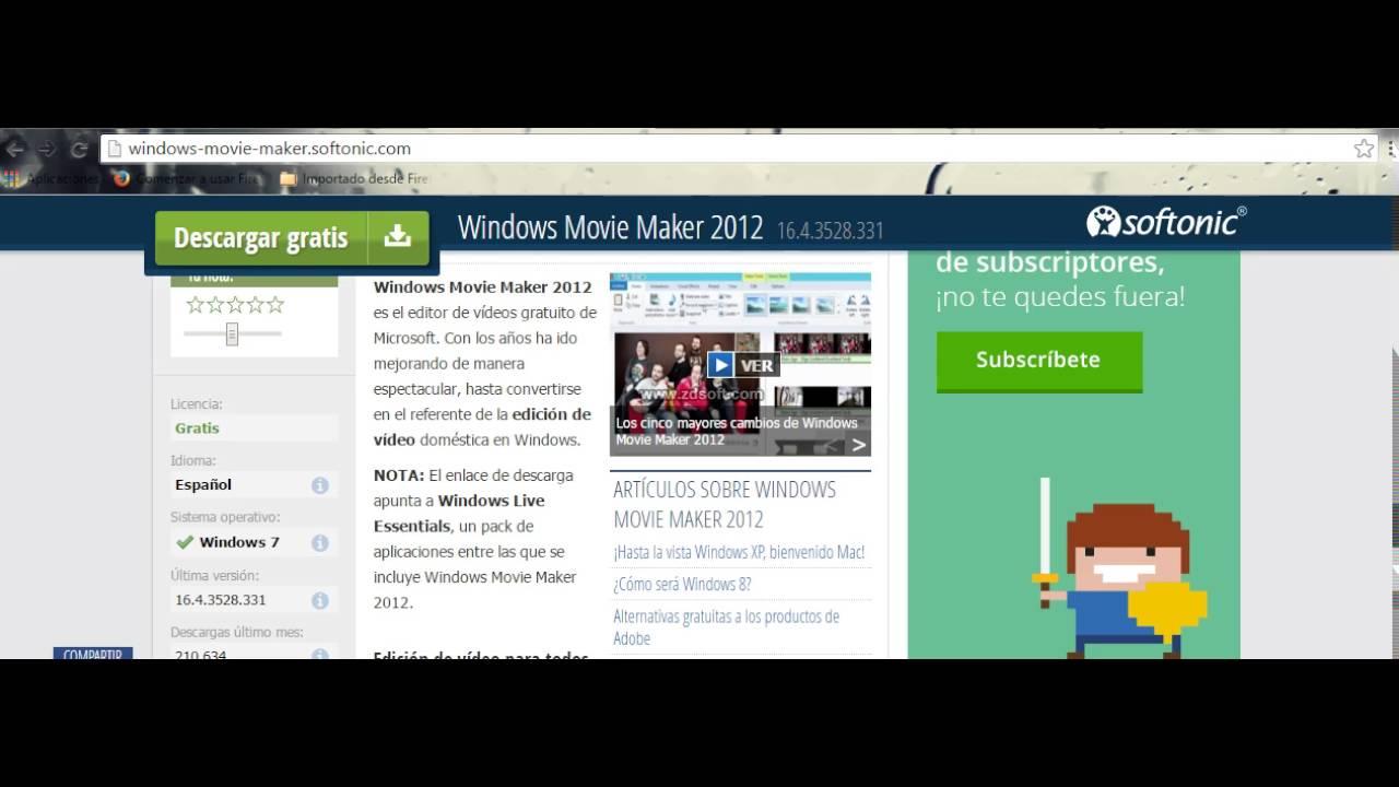 descargar movie maker xp gratis en español softonic