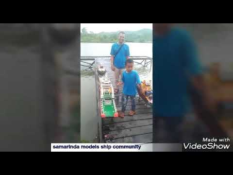 Rc scale Boat samarinda Kapal Hulu tug boat harbour tug lct tug boat kayu sungai mahakam towing barg