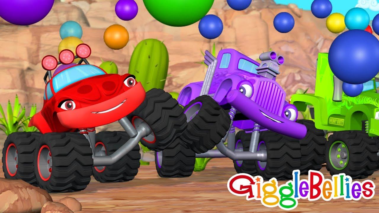 LEARN Colors Monster Trucks Race for Kids - BEST Monster Truck cartoons for children, toddlers, baby