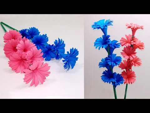 How to Make Beautiful Paper Stick Flower | DIY Hand Craft Ideas for Room | Jarine's Crafty Creation