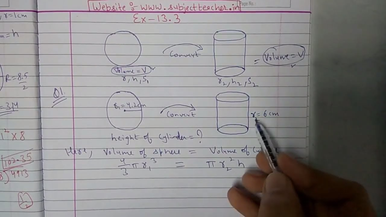 Chapter 13 Exercise 13.3 (Q1 Q2) Surface areas and volumes Class 10 ...