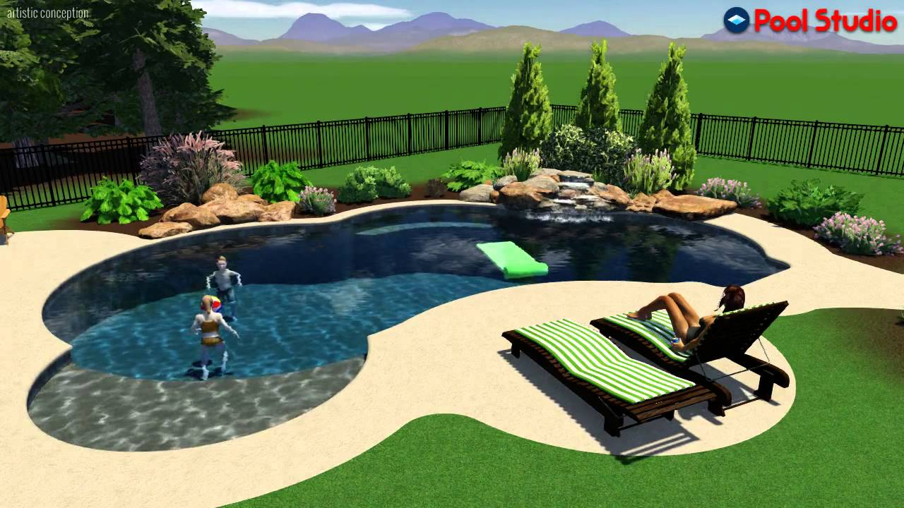 Freeform style salt water pool with sun shelf in for Pool design studio